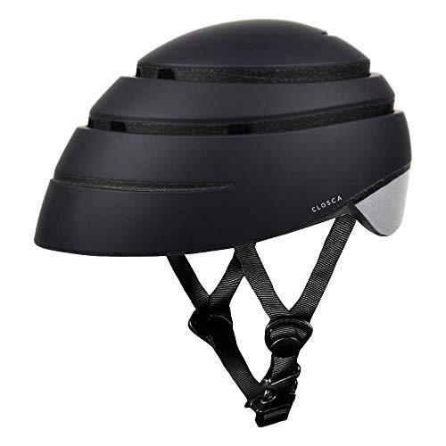 Closca Casco de Bicicleta para Adulto, Plegable Helmet Loop. Casco de Bici y Patinete Eléctrico/Scooter para Mujer y Hombre Unisex. Negro/Reflectante, Talla L