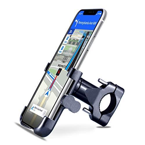 Homeet Soporte Movil Bici, Soporte Bicicleta Teléfono 360 Grados de Rotación Soporte Móvil Universal Antideslizante Soporte Manillar para Bicicleta Aleación de Aluminio para 4.7' a 6.8' Móvil y GPS