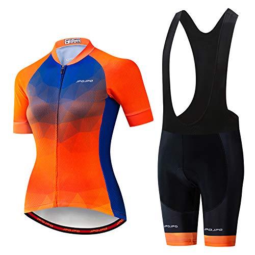 Maillot de ciclismo de manga corta y pantalones cortos acolchados tipo babero de verano para mujer -...*