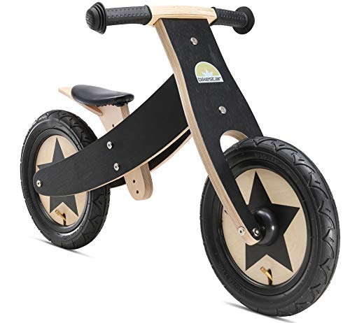 BIKESTAR Bicicleta sin Pedales para niños y niñas   Bici Madera 12 Pulgadas a Partir de 3-4 años   12' Edición Marco Ajustable Negro