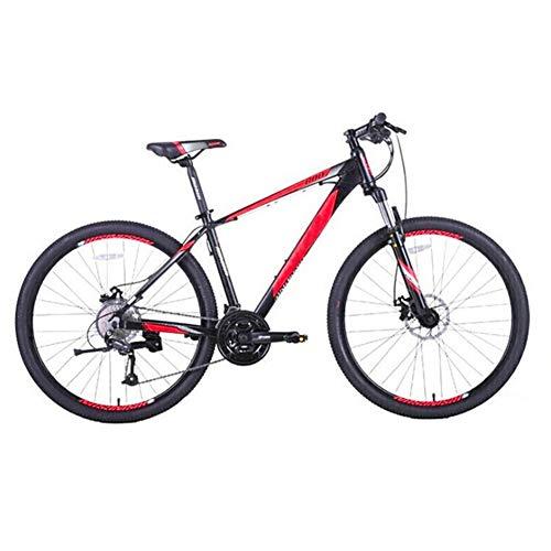 ZHIFENGLIU Bicicleta De Montaña, Horquilla De Suspensión De Cuadro De Aleación De Aluminio De 15,5 Pulgadas De Diámetro De Rueda Grande Bicicleta De Montaña Masculina Y Femenina,Black Red