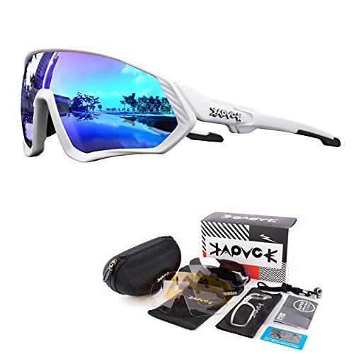 KAPVOE Gafas de Ciclismo Polarizadas con 5 Lentes Intercambiables para Hombres Mujeres Pantalla...*