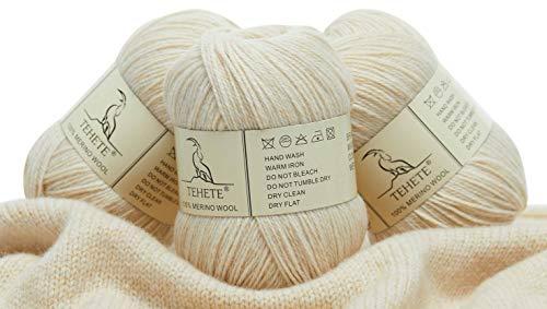 TEHETE Ovillo de lana, 100% Hilados de lana merino Hilo 3 Bolas x 50g para manta, suéter calcetín,...*