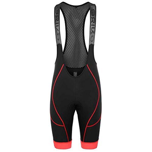 Briko Granfondo Bibshort Pantalones Cortos, Black Red, XL para Hombre
