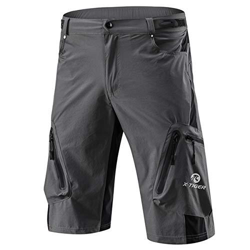 X-TIGER Pantalones Cortos de Montaña Ciclo Holgados de Hombres, Transpirables Sueltos, para MTB de los Deportes al Aire Libre (XXXL, Gris)