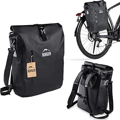 Borgen Alforja 3en1 para portaequipajes de bicis I Mochila bici I Alforja portaequipajes I Bolsa de hombro combinable para bici - 100 % impermeable y reflectante con funda portátil extraíble