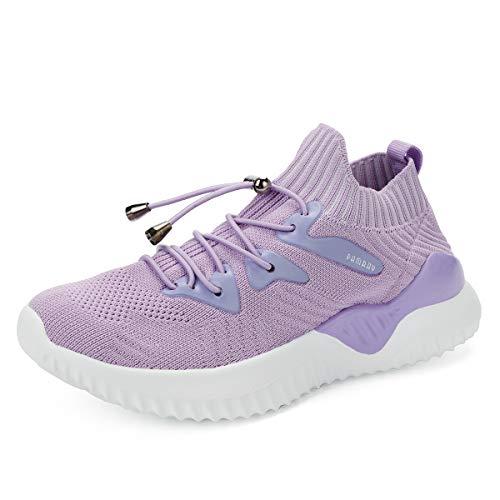 Niños Zapatos Deportivos Running Zapatillas Unisex Deporte Sneakers Ligero Morado 35 EU