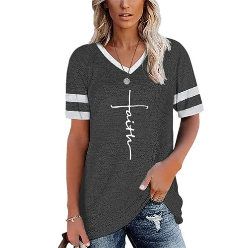 Mayntop Camiseta para mujer para verano, liso, de color liso, a rayas, suelta, talla grande, manga corta, cuello en V, blusa, B-gris oscuro, 46