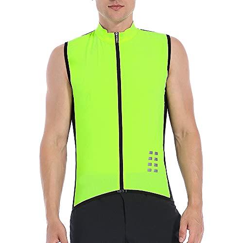 WOSAWE Chaleco de Ciclismo, Hombres Transpirable Sin Mangas Chaqueta de MTB Cortavientos Ropa de Bicicleta (Verde XXL)