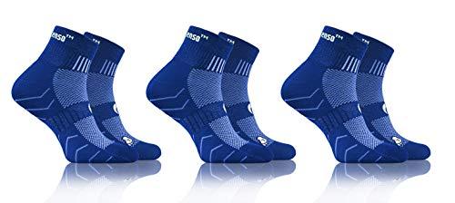 Sesto Senso Calcetines Deporte Colores Mujer Hombre Algodón 3 Pares 43-47 Azul