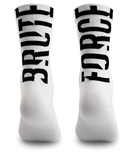 NORTEI Calcetines para Ciclismo, MTB y Running de Caña Alta para Hombre y Mujer – Brute Force White (S-M (38-42))