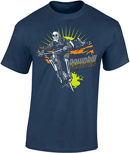 Camiseta de Bicileta: Downhill Forever - Regalo para Ciclistas - Bici - BTT - MTB - BMX - Mountain-Bike - Regalos Deporte - Camisetas Divertida-s - Ciclista - Retro - Fixie-Bike Shirt (M)