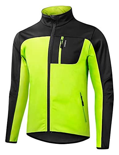 INBIKE Chaqueta Ciclismo Hombre Cortavientos Softshell Otoño e Invierno Bicicleta Montaña Trekking Impermeable Running Ropa de Trabajo Verde L