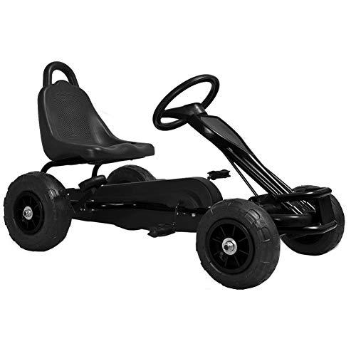Kart Pedales Negro para Ni?os con Ruedas Neum¨¢ticas de Goma y Freno de Mano, Carga 30 kg