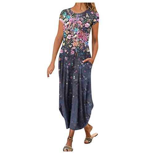 YANFANG Vestidos Mujer Elegante,Vestido De Estilo Casual con Estampado Flores Y Mangas Cortas Cuello Redondo Moda para Mujer,Vestido Bohemio Largo Larga,Rosa,Negro,Azul Oscuro,Rojo,Azul,Verde,S-XXL