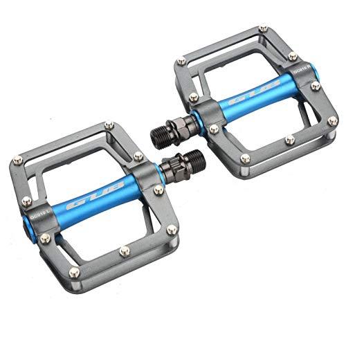 Pedal de Bicicleta - GUB 1 par de Pedales de Ciclismo Planos de aleación de Aluminio para Accesorios de Bicicletas de montaña(Titanio y Azul)