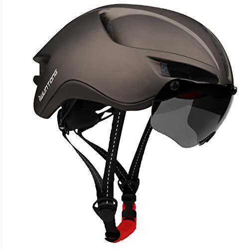 iWUNTONG Casco de Bicicleta de montaña para Adulto, Casco Bici con certificación CE con Visera Solar extraíble e luz Trasera LED Recargable por USB, Ciclismo Casco de Carretera Hombre Mujer 57-61 cm