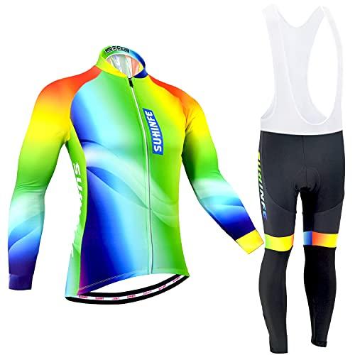 Maillot Ciclismo Mujer Invierno, Ropa Ciclismo Manga Larga con Forro Polar Térmico en y Pantalones Ciclismo de Alta Elasticidad para Bicicleta Carretera y Bicicleta Montaña, Arcoíris, 2XL