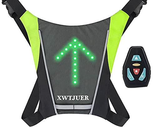 XWT Bike 48 LED Chaleco con Luces Intermitentes Carga USB, Reflectante, Inalámbrico, Mochila para...*