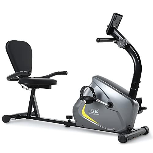 ISE Bicicleta Estática de Spinning Ejercicio Gimnasio con 8 Niveles de Resistencia, Sensor de Pulso, Bicicleta Elíptica de Fitness con Grande Soporte Adecuado para iPad&Móvil, Máx. 100kg, SY-6802