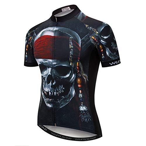 Hotlion Maillot de ciclismo para hombre, manga corta, con 3 bolsillos traseros, absorbe la humedad,...*