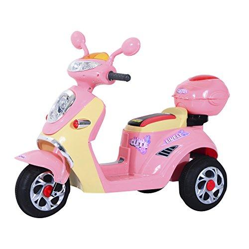 HOMCOM Coche Triciclo Moto Eléctrica Infantil Correpasillos a Batería Niños +3 años 6V Metal + PP 108x51x75cm Rosa