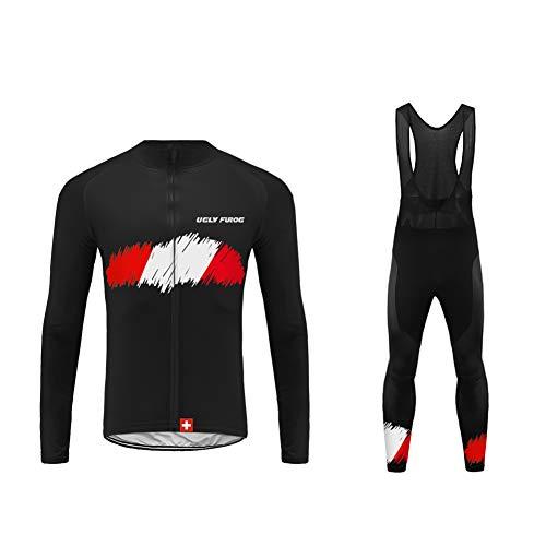 UGLY FROG 2020-2021 MTB Nuevo De Invierno Mantener Caliente Hombre Manga Larga Maillot Ciclismo +Bib Pantalones Sets with Gel Pad Winter(Dos Piezas)