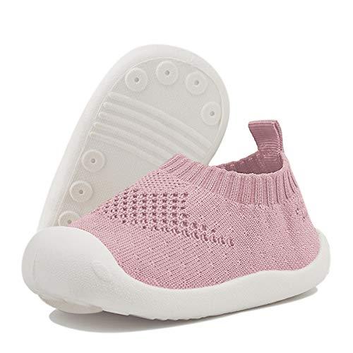 DEBAIJIA Bebé Primeros Pasos Zapatos 1-4 años Niños Niñas Infante Suave Suela Antideslizante Malla Transpirable Ligero 20 EU Rosa (Tamaño de la etiqueta-17)
