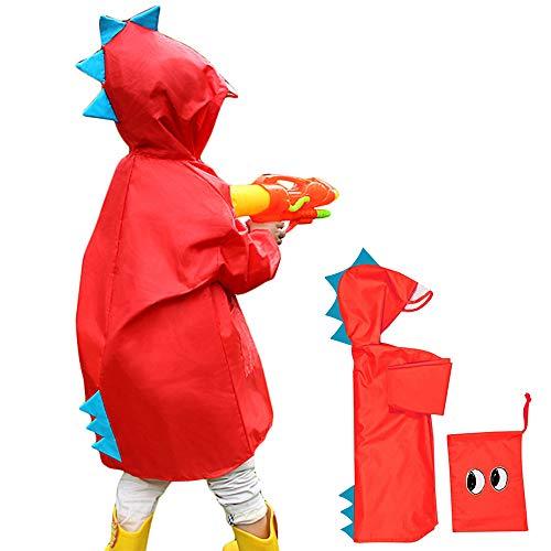 Impermeable niño unisex capa de lluvia Ponchos chicos niñas abrigo impermeable con capucha y visera Raincoat escuela senderismo Camping viaje 2 – 6 años