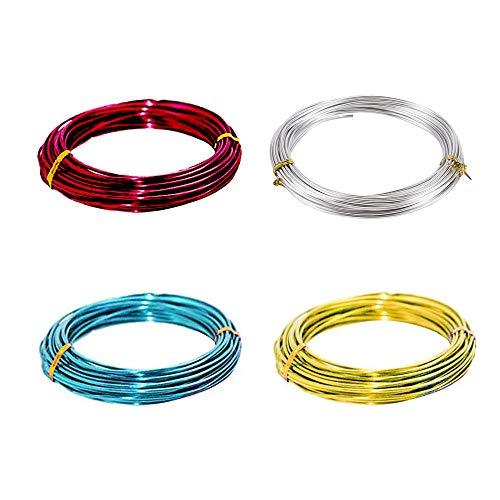 4 Rollos Alambres de Cobre para Hacer Bisutería, Alambre de Aluminio Multicolor,Alambre de...*