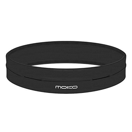 MoKo Riñoneras Belt Universal - Deportivo Cinturón de Correr de 4 Bolsillos para Ejercicios, Fitness, Gimnasio para iPhone 7 / 6S / Galaxy S10 S10 Plus S10e, Negro (M - 28.7'-32.3')