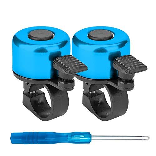Senkora Timbres de Bicicleta 2 Piezas Campana de Ciclismo con Destornillador Timbre para Bicicleta Sonido Fuerte y Claro Aleación de Aluminio Bicicleta Accesorios 6 Colores(Azul)