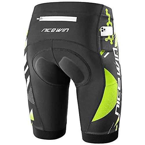 NICEWIN Pantalones Cortos de Ciclismo para Hombre con Almohadilla Pantalones Bicicleta Acolchada con Gel 4D Cortos MTB Bicicleta Pantalones Cortos Transpirables