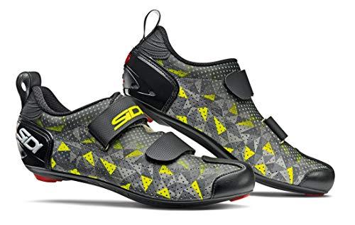 SIDI Zapatillas T-5 Air, Hombre, Escape de Ciclismo, Gris Amarillo y Negro, 45 EU