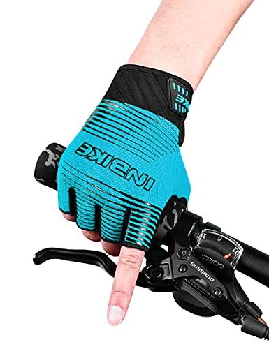 INBIKE Guantes de Ciclismo MTB Medio Dedo Absorción de Impactos Verano Transpirable Antideslizante y Guantes de Bicicleta de Montaña para Hombres y Mujeres, L Azul