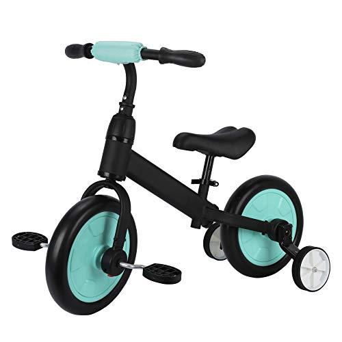 Sfeomi Bicicleta de Equilibrio para Niños 12 Pulgadas Bici para Niños con Pedales Desmontables Bicicleta de Equilibrio Infantil con Rueda Auxiliar (Azul)