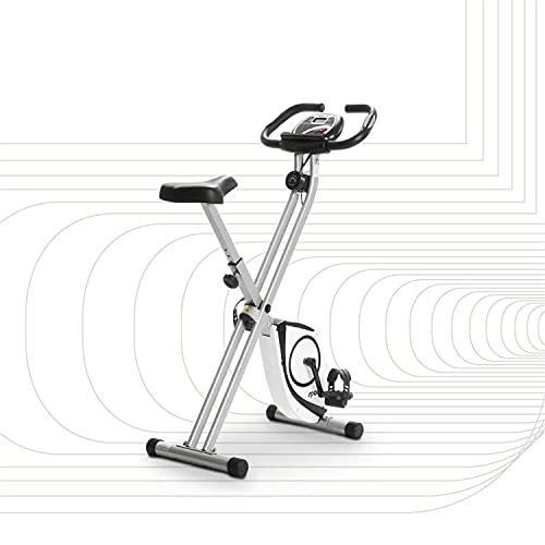 SportPlus X-Bike – Bicicleta Estática con Monitor de Frecuencia Cardíaca – Sistema de Frenos Magnético con 8 Niveles de Resistencia – Max. Peso de Usuario 100 kg – Plegable