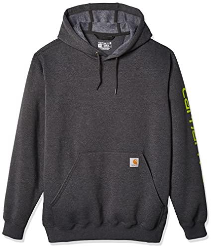Carhartt Midweight Sleeve Logo Hooded Sweatshirt Sudadera con capucha, Carbon Heather, L para Hombre