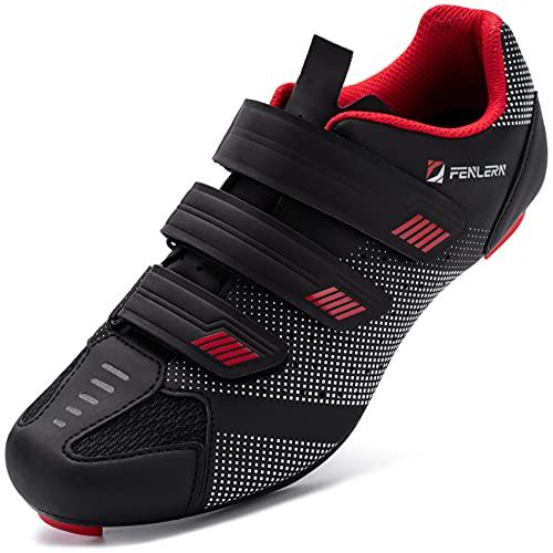 URDAR Zapatillas de Ciclismo Hombre Transpirable Bicicleta Calzado de Ciclismo Cómodo Zapatillas de Ciclismo Ligero Hermosa Suela de Carbono(Rojo Negro,40 EU)