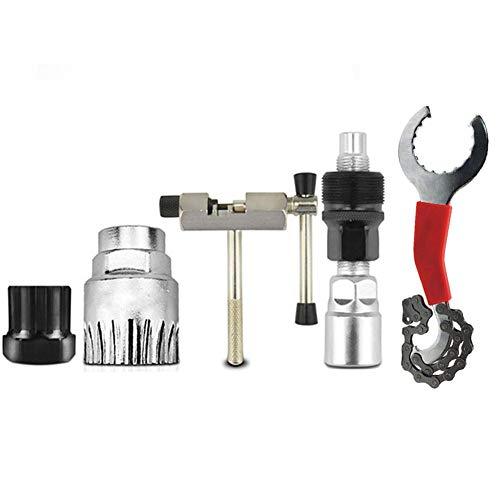Doolland Herramienta de reparación de bicicletas,Multifunción profesional Bike Repair Tools, soporte para extractor de cadena de piñón libre, herramienta extractora de manivela