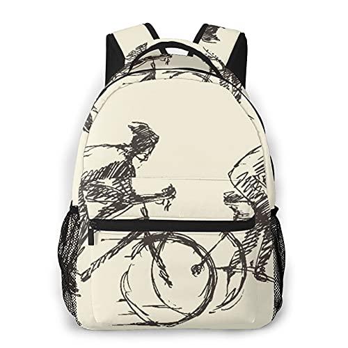 Judascepeda Mochila de ocio múltiple,Ciclista, hombre, bicicleta, , mano, dibujado, Mochila deportiva de viaje para estudiantes universitarios adultos jóvenes