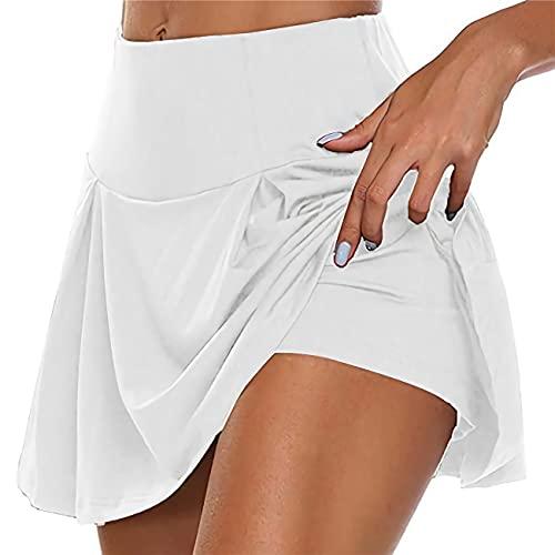 GUKOO Faldas Mujer Cortas Respirable Falda de Golf Pilates Fitness Correr Deporte Falda Pantalón Deportiva de Tenis 2 En 1
