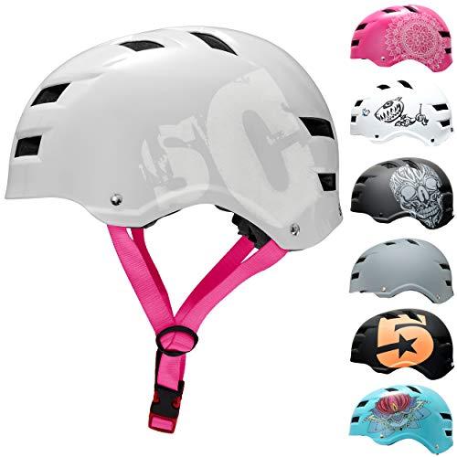SkullCap® Casco de Skate y BMX - Bicicleta Y Scooter Eléctrico, Diseño: Pink Strap, Talla: M...*