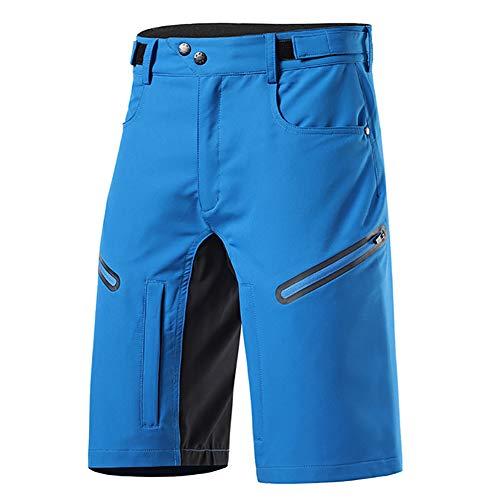 Cycling Shorts Pantalones Cortos de Ciclismo para Hombres de Bicicleta de MontañA MTB Bike Short de Ajuste Suelto Deportes Al Aire Libre Senderismo (Color:Azul,Size:SG)