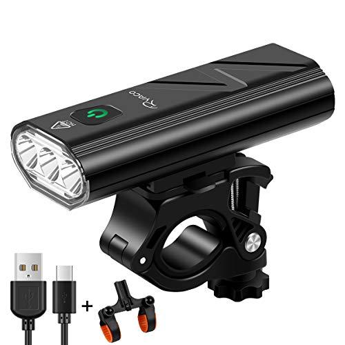 Ryaco Luz de Bicicleta, Faro de Bicicleta con 3 Leds de 2400 lúmenes, Faro de Bicicleta de Bicicleta Recargable por USB con 5200 mAh de Capacidad con función de batería Externa (Relámpago Negro)