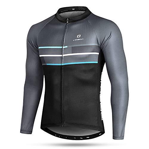 LAMEDA Camiseta Maillot Ciclismo Térmica Ligera Cómoda Transpirable Hombre con Manga Larga, Jersey Bicicleta MTB Ciclista para Entretiempo Y Invierno(XL)