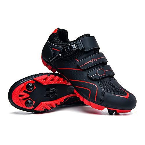 LU-Model Zapatillas de Ciclismo Elite SPD MTB para Hombres Mujeres Ideales para Bicicletas de montaña, Ciclismo de Ciclo XC en incluidos Red-46