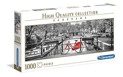 Clementoni- Puzzle 1000 Piezas Panorama Amsterdam - Bicicleta (39440.1)