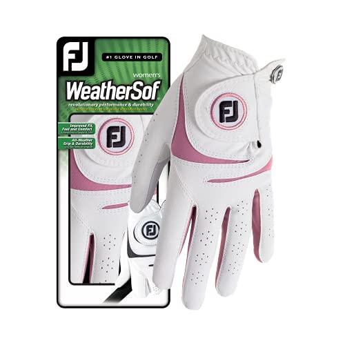 Footjoy Weathersof Guante de Golf, Mujer, Blanco/Rosa, M*