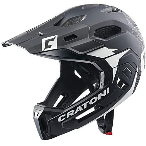 Cratoni C-Maniac 2.0 MX Downhill Freeride - Casco de bicicleta (protector de barbilla extraíble, talla S/M, 52-56 cm), color blanco y negro